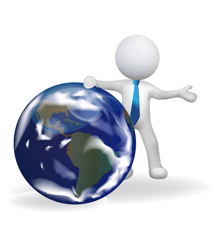 3D white people man with earth globe vector icon logo