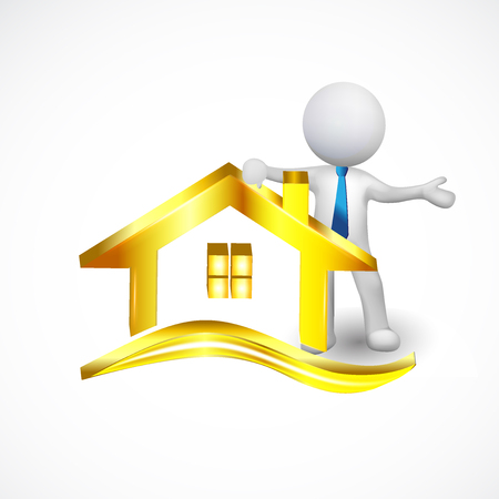 3d white small people selling a gold house icon vector logo template illustration.