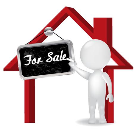 3D weiße Menschen Mann Verkauf eines Hauses mit Ankündigung für Verkauf Symbol Logo Vektor-Illustration. Standard-Bild - 82417532