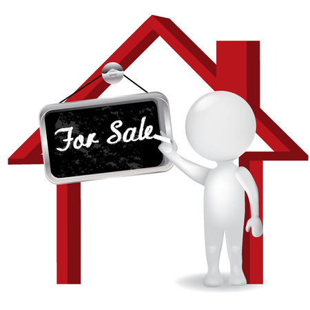 business people: 3D white people man selling a house with announcement of for sale icon logo vector illustration. Illustration