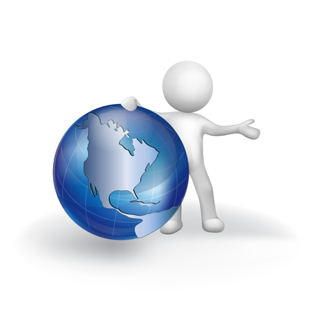3D white people man with earth globe world map vector icon logo