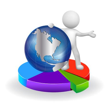 Hommes en 3D blancs avec des graphiques statistiques et globe terrestre Banque d'images - 82808113
