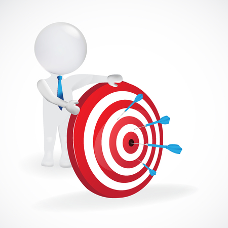 3d man white people hit the red target with blue dart, isolated white background, 3d vector logo