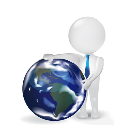 3D small people business man with earth globe vector icon logo