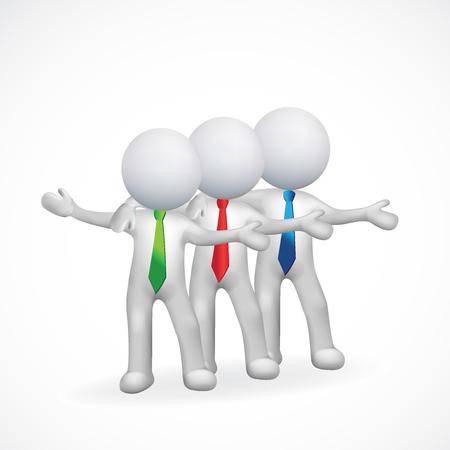 rendering: 3D white people men friendship concept icon vector logo design