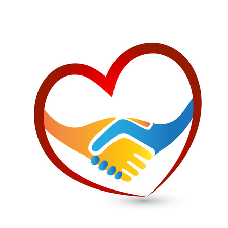 Handshake people love heart union concept logo vector icon Illustration