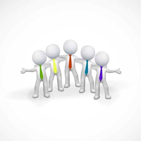 rendering: 3D white people men friendship logo vector
