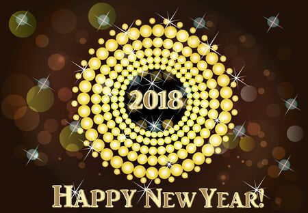 new years: 2018 Happy new year 2018 gold background vector Illustration