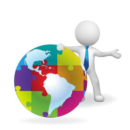 World puzzle business connections logo vector Ilustração