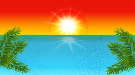 rendering: Tropical beach vector illustration background Illustration