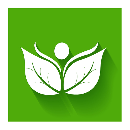 Healthy and nature leafs flat icon on green logo vector Illustration