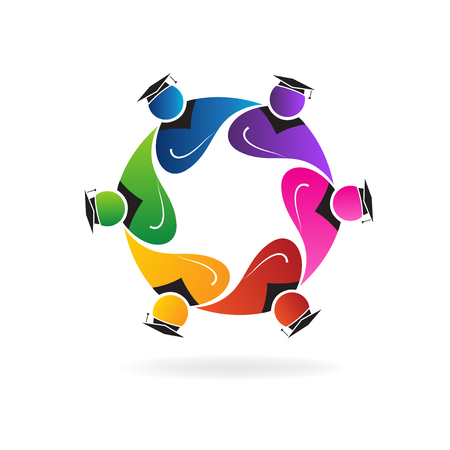 together voluntary: Teamwork graduation students in a hug logo vector Illustration