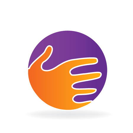 HI: Handshake icon vector logo design.