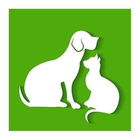 犬と猫のフラット シルエット緑のロゴのベクトルの背景  イラスト・ベクター素材