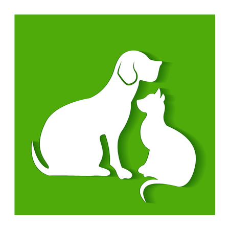 domestic: Dog and cat flat silhouettes on green logo vector background