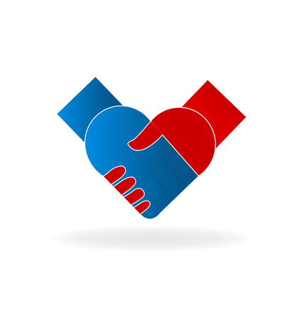 modern office: Handshake people love heart union concept logo vector icon Illustration