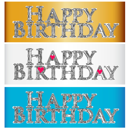 textured: Happy birthday in chrome color vintage and love hearts icon logo template