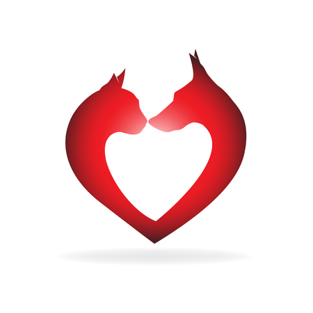 happy people: Dog and cat in a heart shape icon vector image