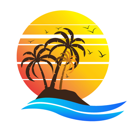 Sun set in the beach illustration.