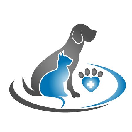 green heart: Animal silhouettes veterinarian business icon. Illustration