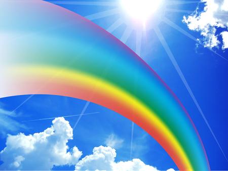 Rainbow on blue sunny sky Stock Photo