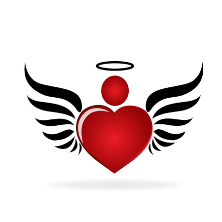 Heart and circle shape icon. Angel concept design,  graphic vector illustration image logo template