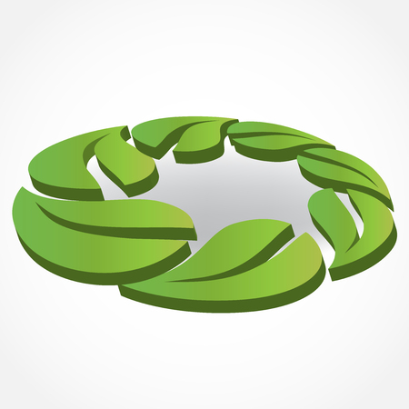 green heart: Healthy and nature leafs id card business for vegan industry logo vector 3d image