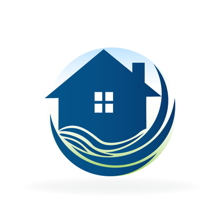 Blue house and beach waves real estate business id card icon image logo vector