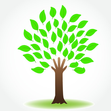 Tree nature health protective hand icon image logo vector Illustration