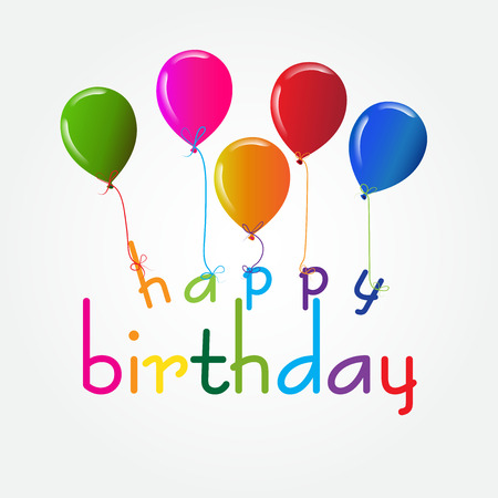 template: Happy birthday design with balloons in vivid colors for greeting card, banner template