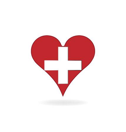 Medical heart help icon logo vector