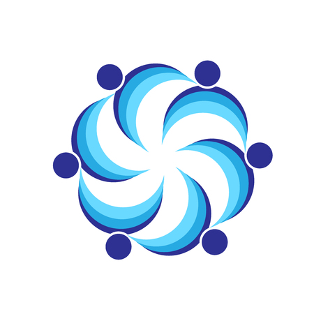 together voluntary: Teamwork blue swooshes people business icon image logo