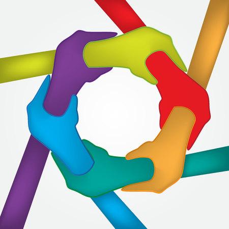 rainbow: Hands unity strength people logo vector image Illustration