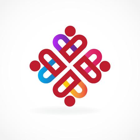 Teamwork charity people logo vector image Illustration