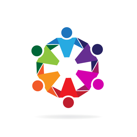 Teamwork hugging business people logo icon vector image Illustration
