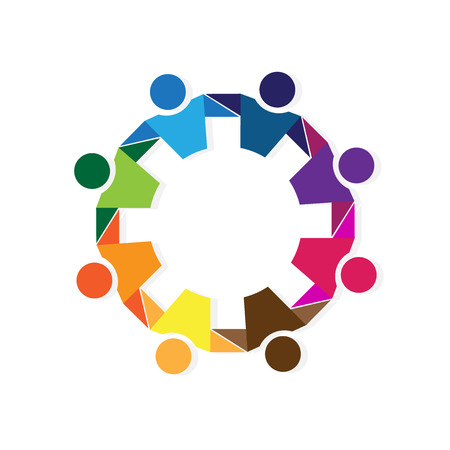 rainbow colors: Teamwork hugging business people logo icon vector image Illustration
