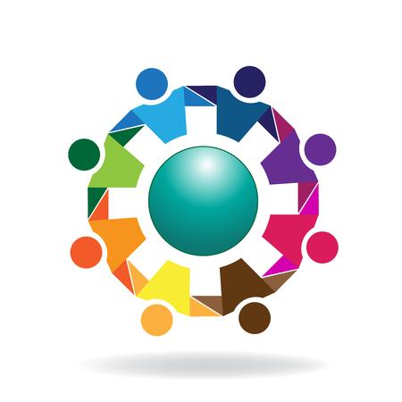 Teamwork hugging business people logo icon vector image  イラスト・ベクター素材