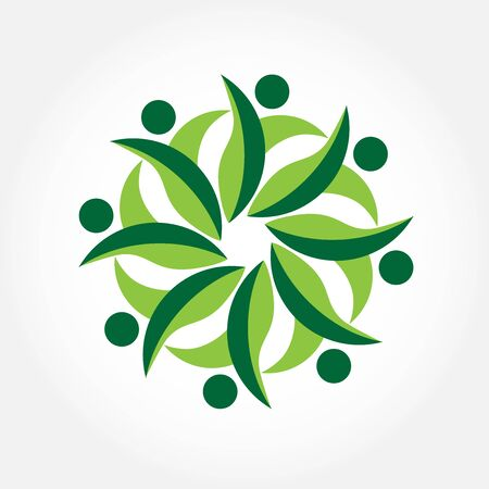 together voluntary: Teamwork people ecology concept logo icon vector