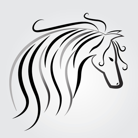 Beautiful horse logo vector identity card Illustration
