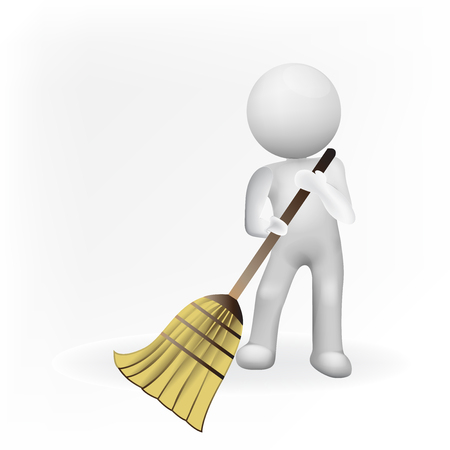 3D white people man with broom. Concept of  Janitorial business logo id card vector image