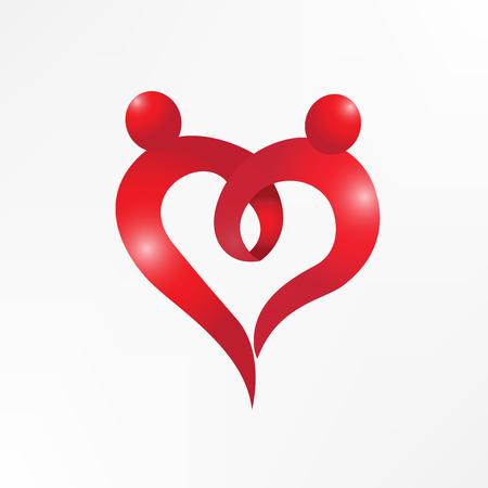 Heart love couple holding hands logo vector image 向量圖像
