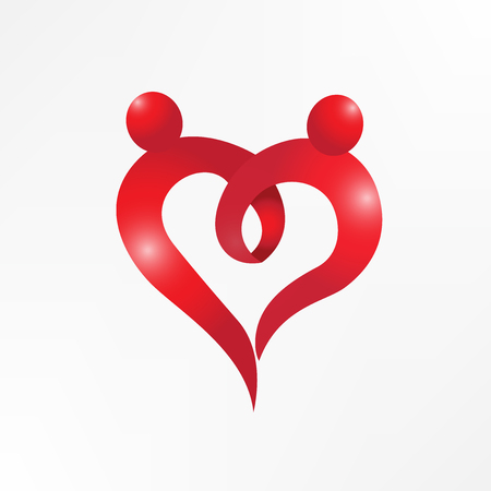 Heart love couple holding hands logo vector image Vectores