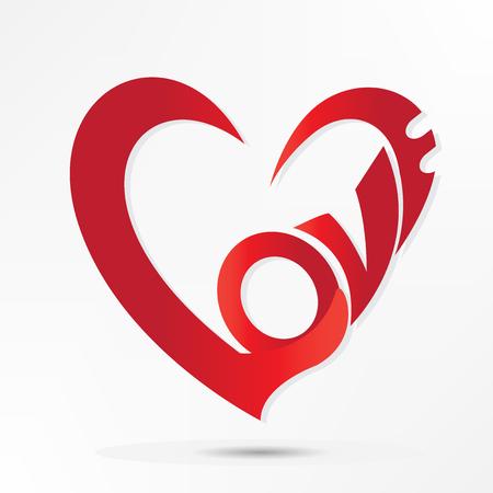 Love word valentines heart design logo vector image 向量圖像