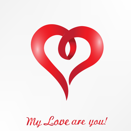 Heart love with words text my love are you logo id card