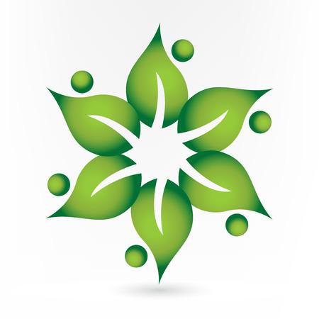 Teamwork health nature leafs people icon logo vector design
