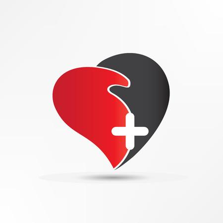 Handshake love heart with cross logo vector design.