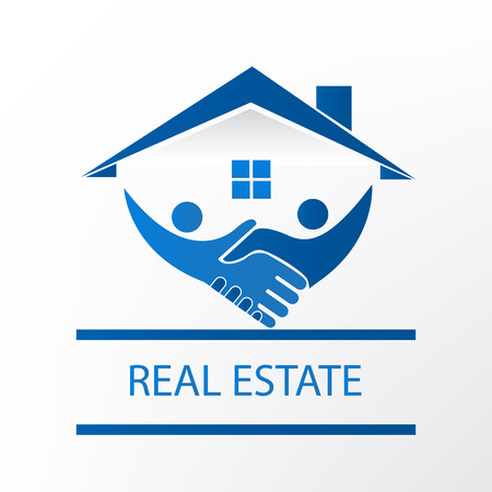Real estate house handshake people blue icon logo vector template