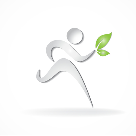 Healthy and happy runner icon vector