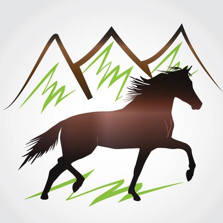 yegua: Imagen de caballo salvaje y montañas
