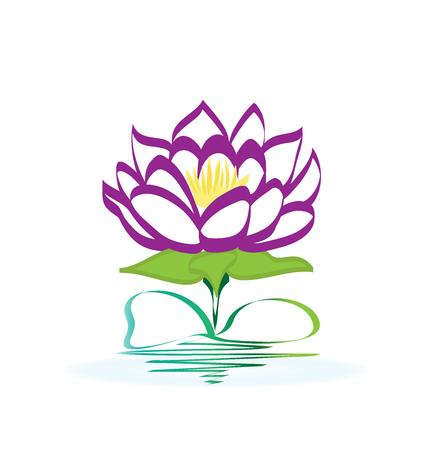 Lotus flower icon logo design template